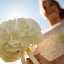Bride with her Bouquet at Meols Hall.