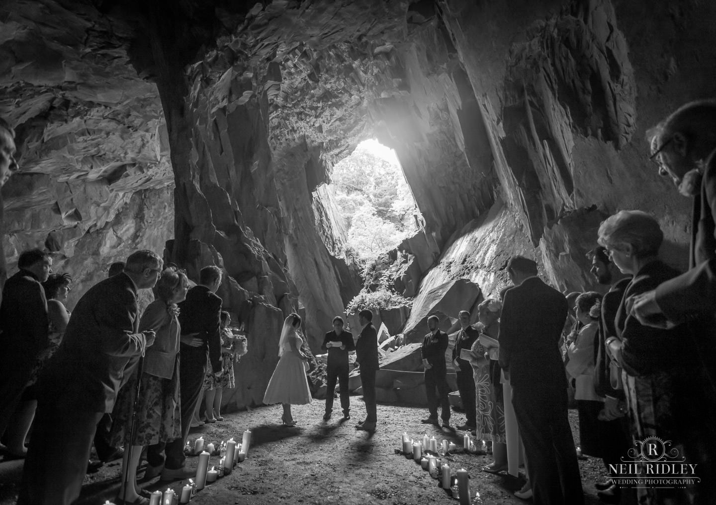 Award Winning image of a Wedding ceremony in Cathedral Cavern in the Lake District