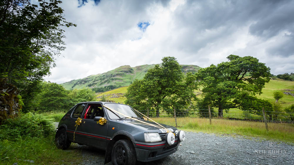 Brides Wedding Car is a Peugeot 205 1.9 GTi Rally Car in Lake District