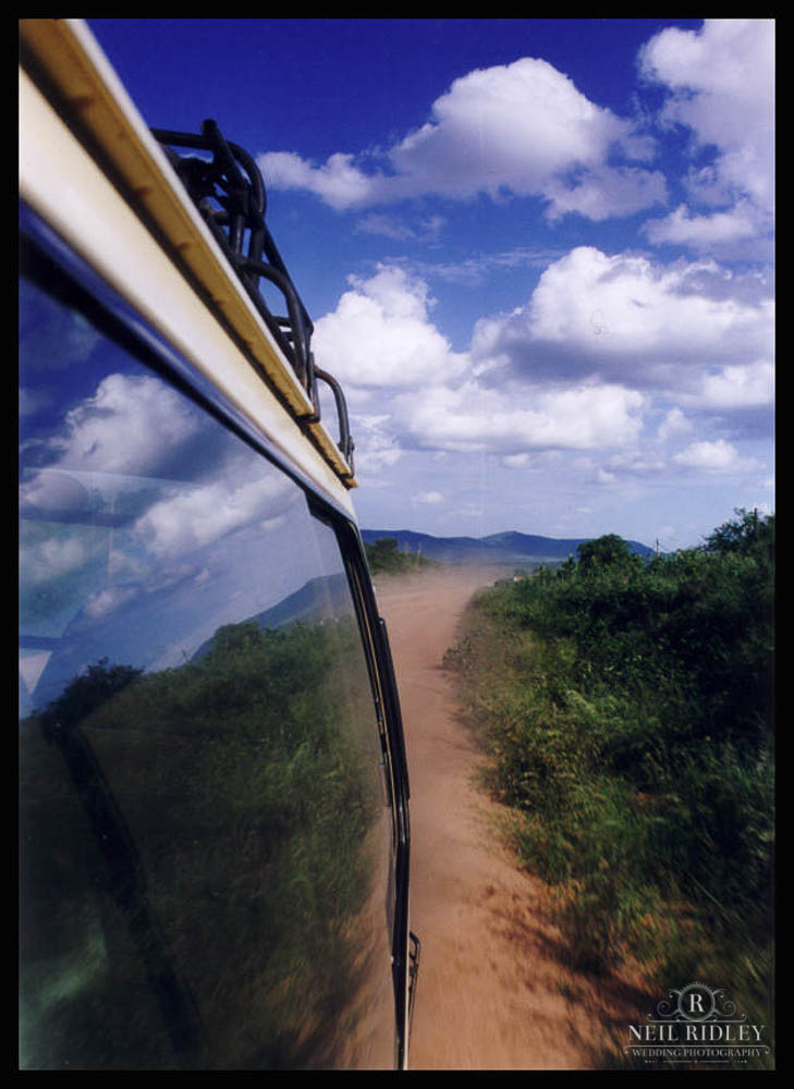 The view from a bus along a Kenyan Road