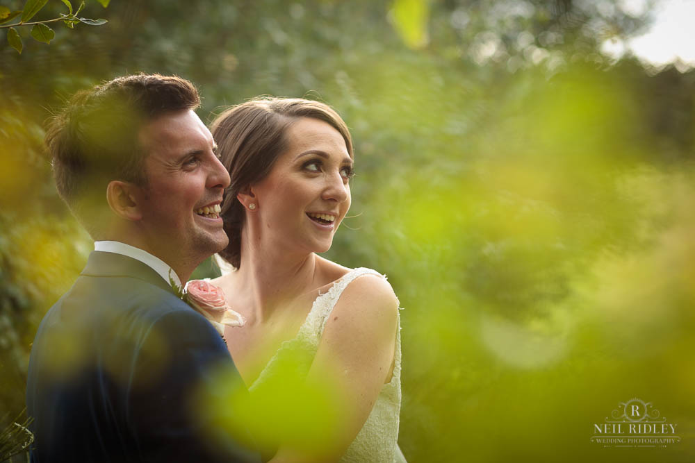 Bride and Groom in forest at Delamere Events
