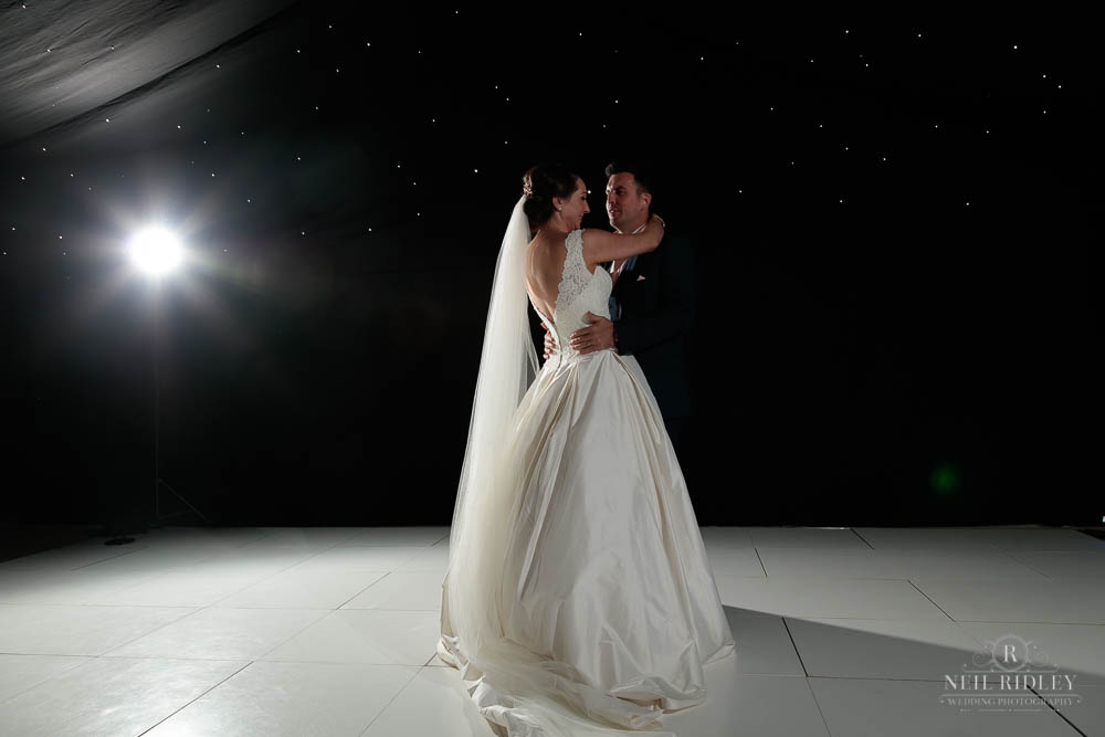 bride and Groom share the First Dance at Delemere Events.