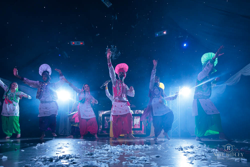 Hindu Dancers at Fusion Wedding at Heaton House Farm