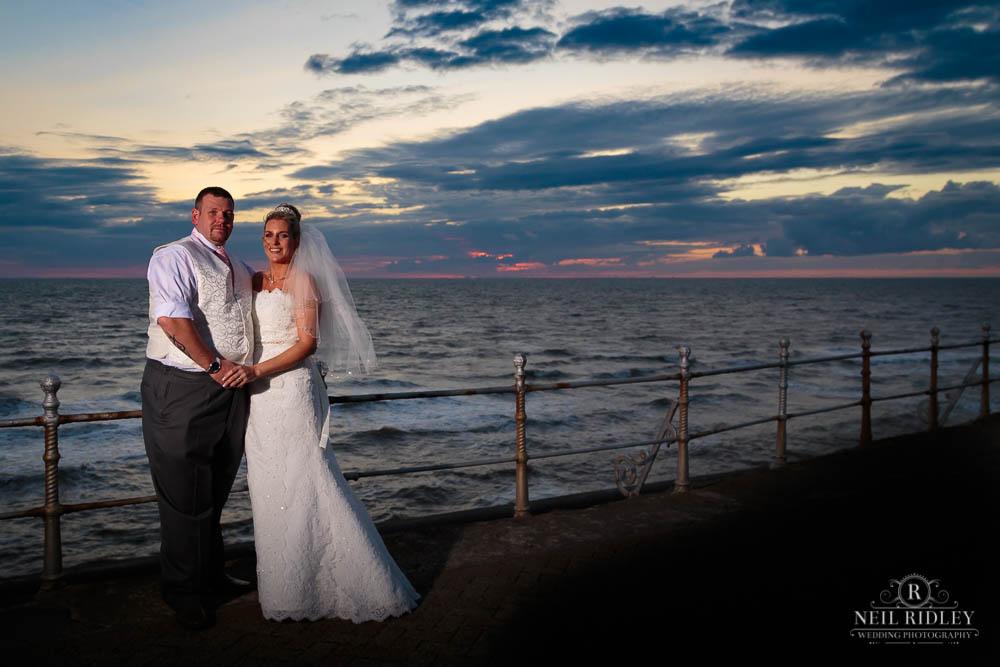 Bride and Groom on Blackpool Promanade.