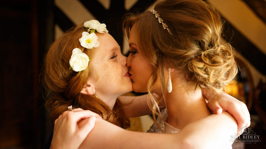 Albright Hussey Wedding Photographer, Bride and Bridesmaid at Albright Hussey Manor