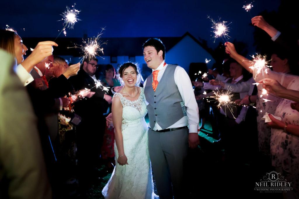 Sparkler Shot Of Bride and Groom at The Great Hall at Mains.