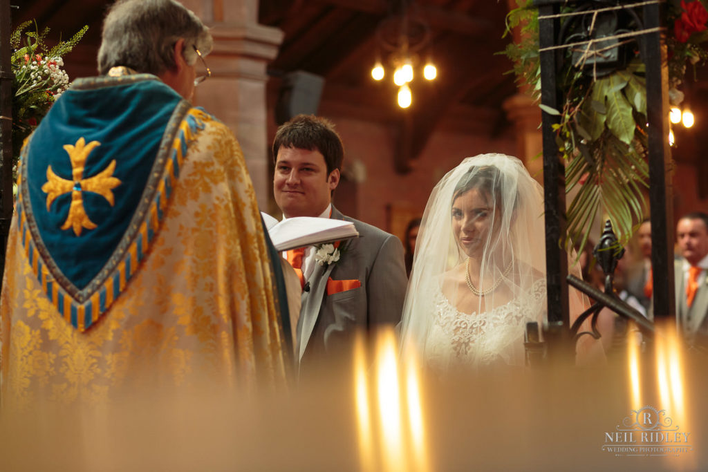 Bride and Groom at the Altar at St Thomas Church in St Annes-on-Sea