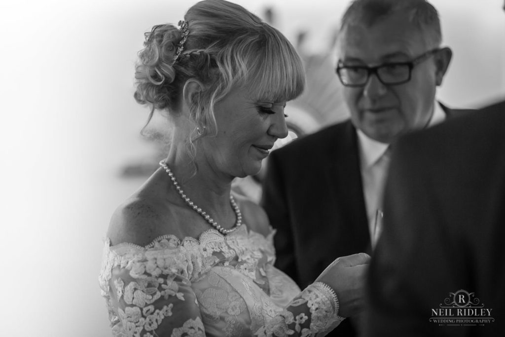 Black and white image of bride at The Park House Hotel, Blackpool
