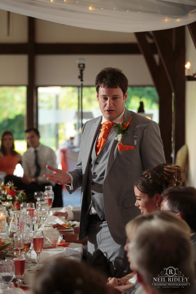 Groom delivers his speech during the wedding breakfast at The Great Hall at Mains