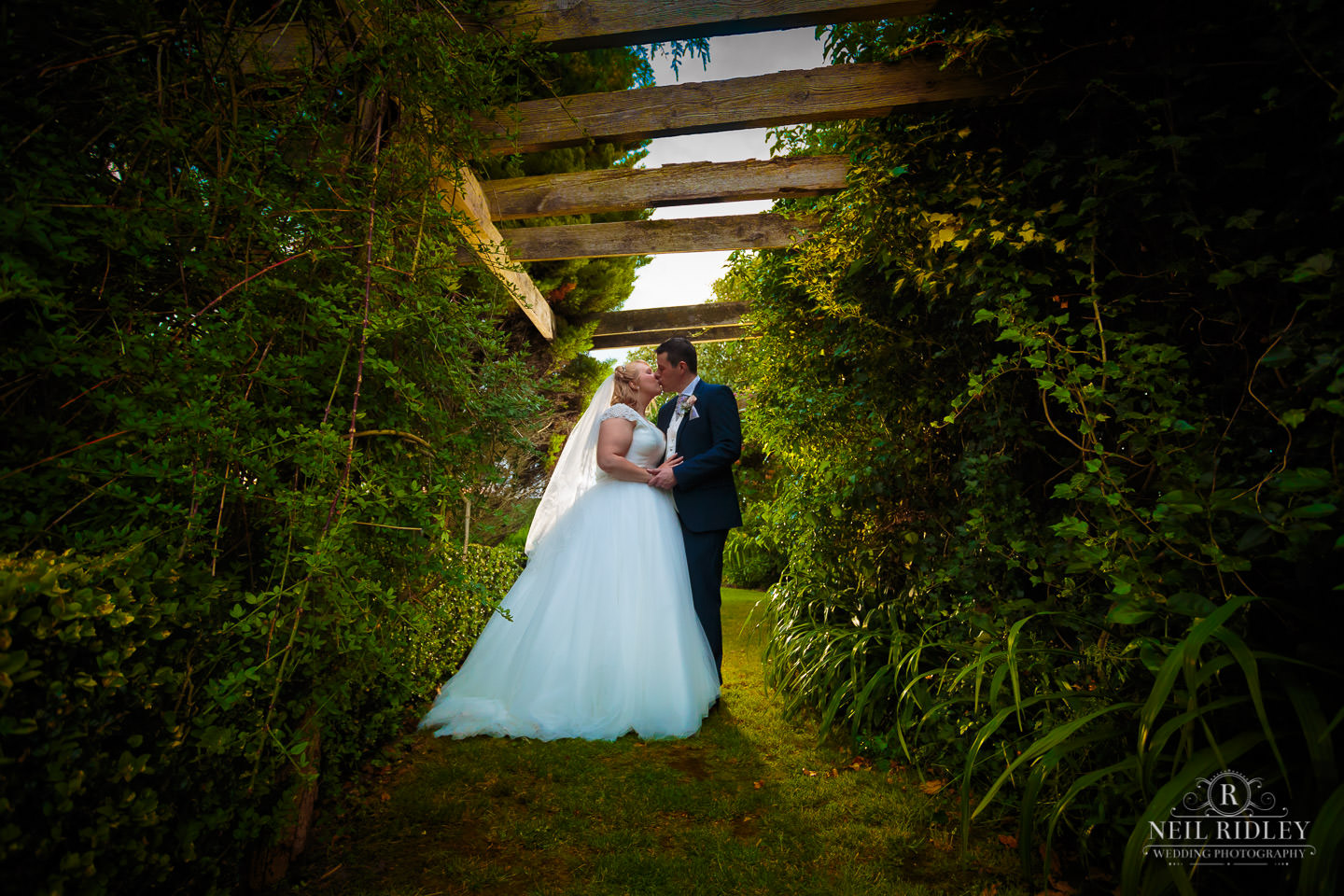 Bride and Groom in Grounds of Garstang Country Hotel and Golf Club