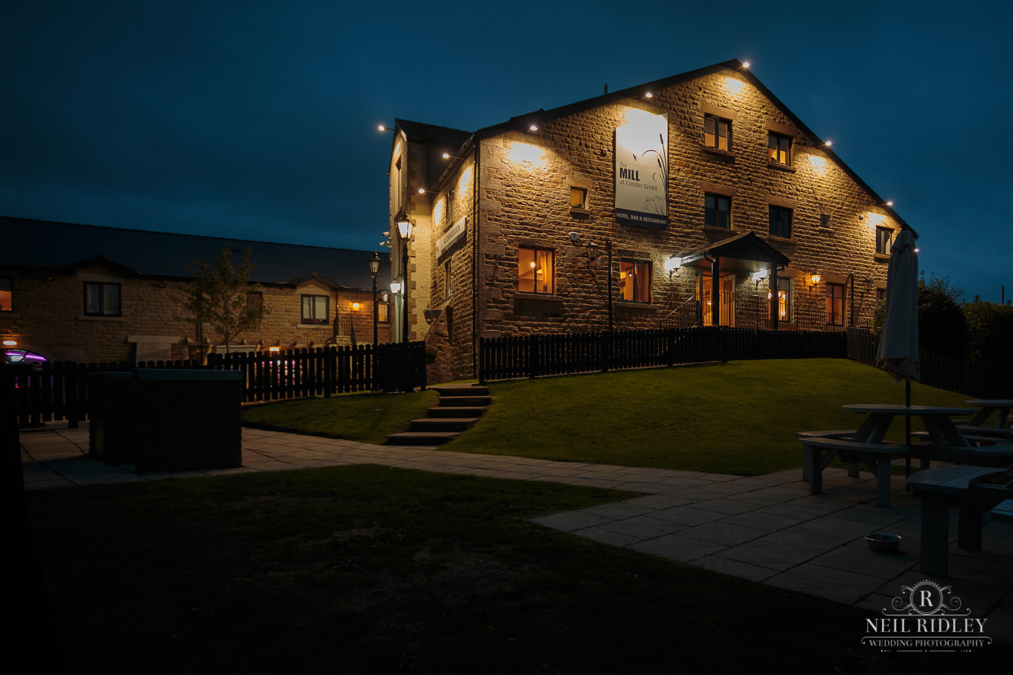 The Mill at Conder Green at night