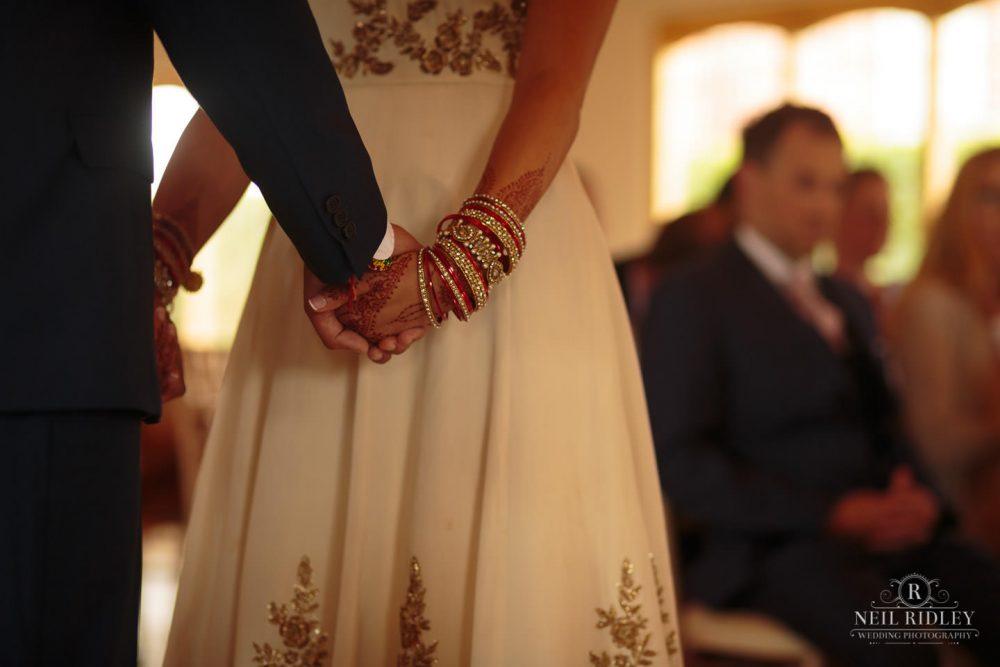 Merrydale Manor Wedding Photographer - Bride and Groom holding hands