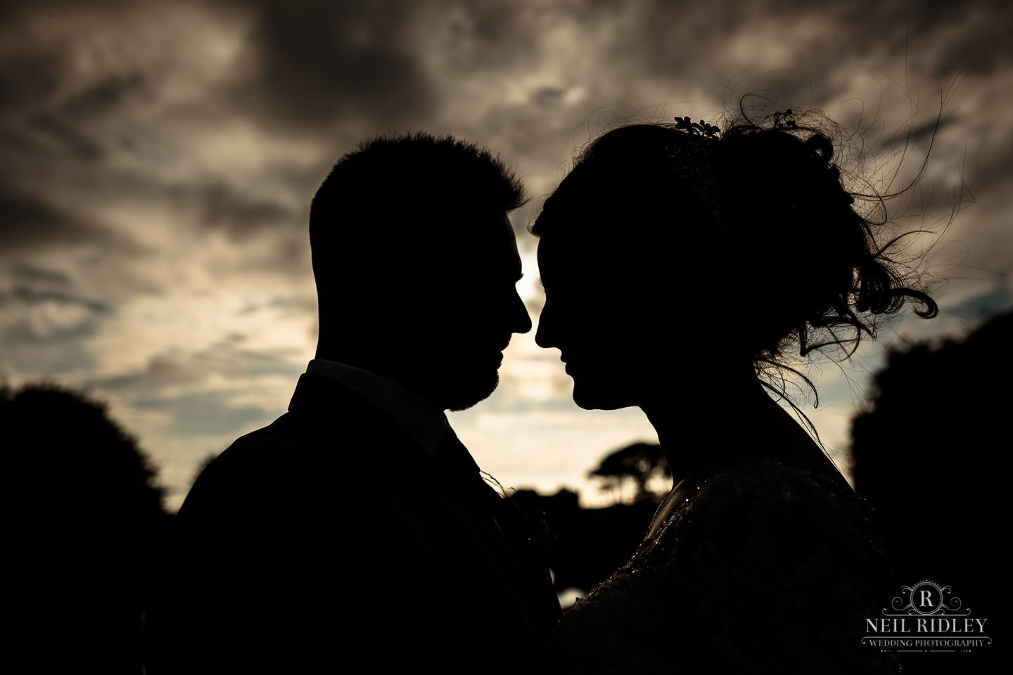 Bride and Groom silhouette at The Mill at Conder Green