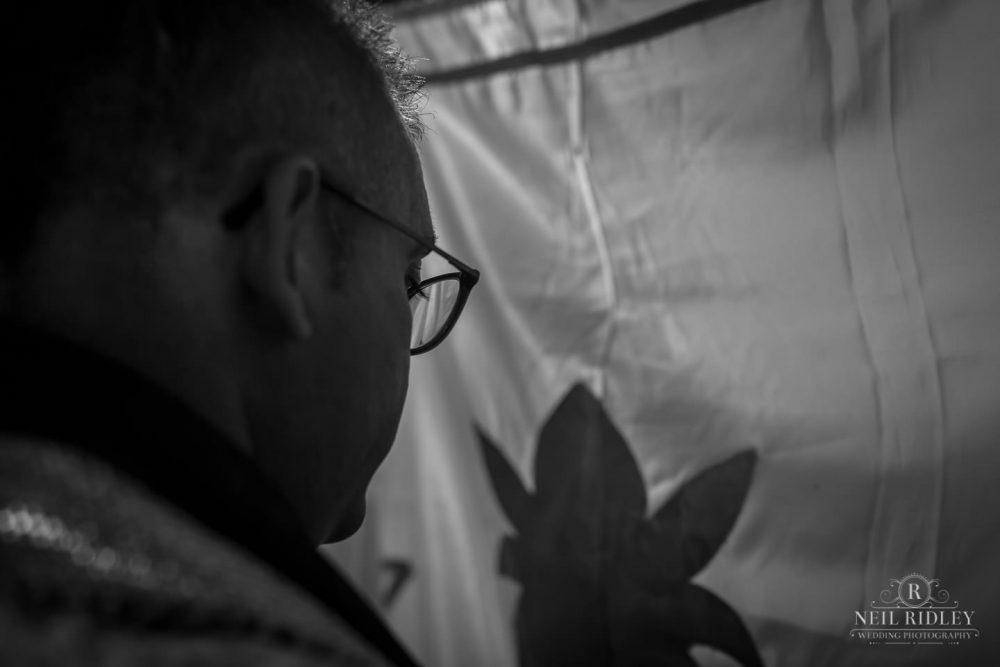 Merrydale Manor Wedding Photographer - Hindu Groom behind a cloth