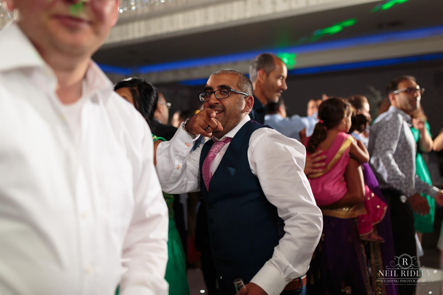 Merrydale Manor Wedding Photographer - Best man pointing at the camera