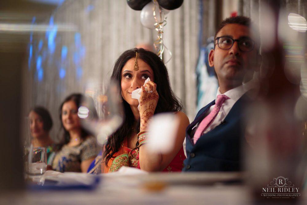Merrydale Manor Wedding Photographer - Bride cries during speeches