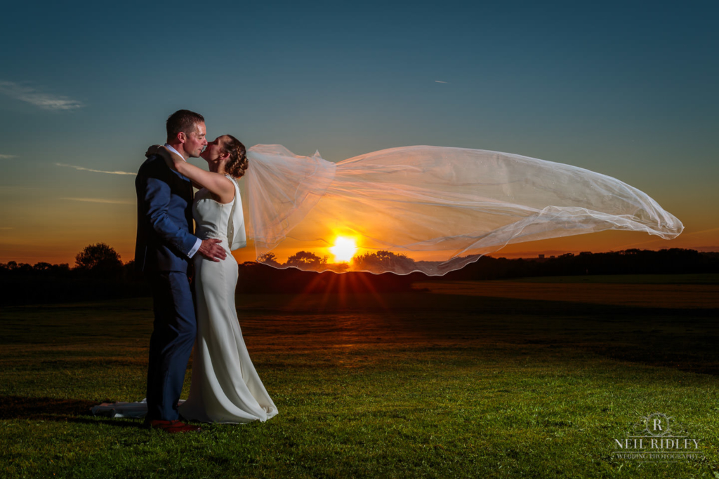 Beeston Manor Wedding Photographer - Bride and Groom at Sunset